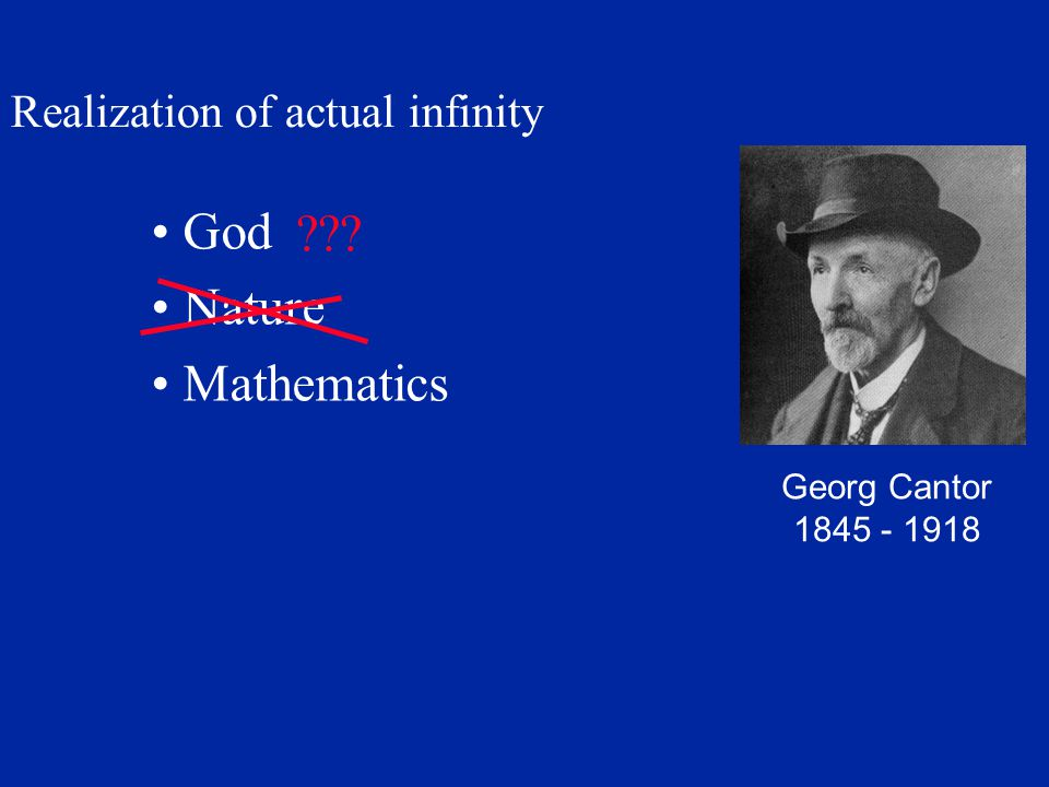 God Nature Mathematics Realization of actual infinity Georg Cantor