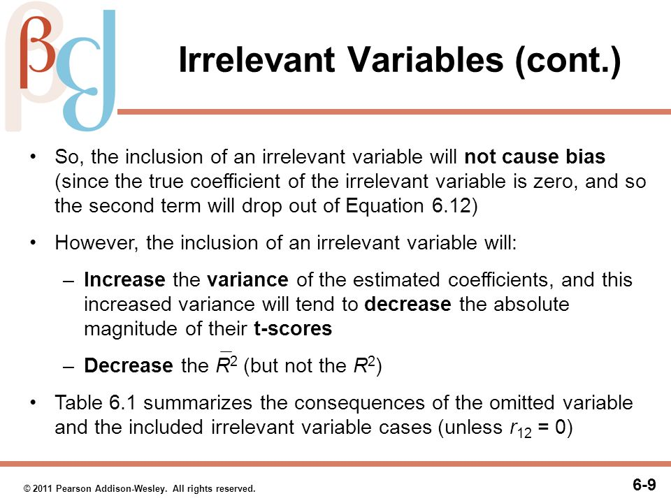 Table 6.1 Effect of Omitted Variables and Irrelevant Variables on the Coefficient Estimates