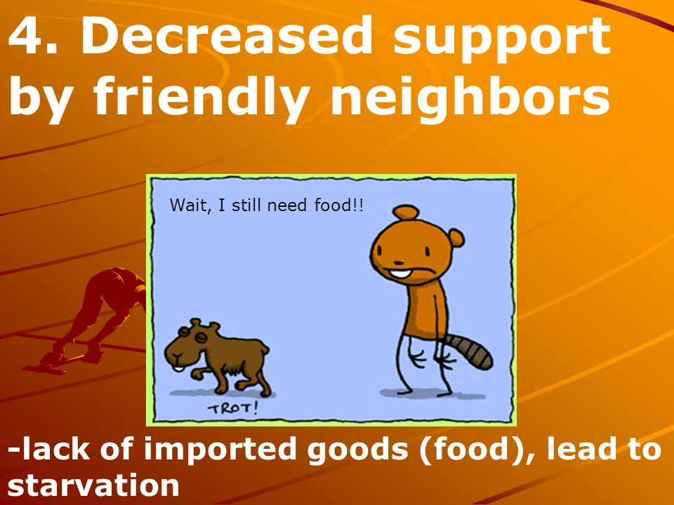 4. Decreased support by friendly neighbors