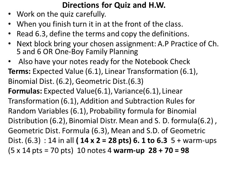 Directions for Quiz and H.W.
