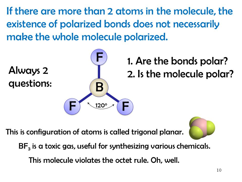 If there are more than 2 atoms in the molecule, the existence of polarized bonds does not necessarily make the whole molecule polarized.