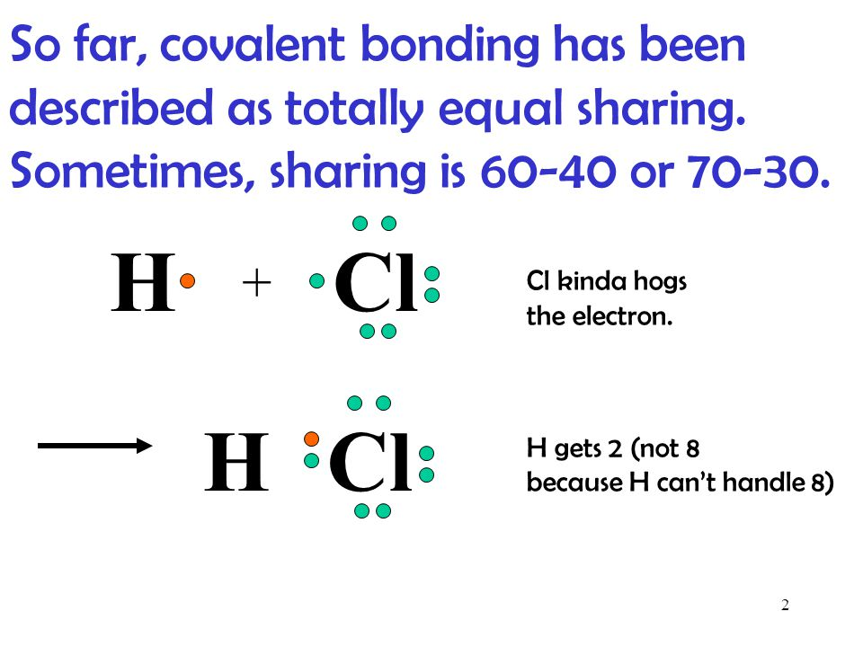 So far, covalent bonding has been described as totally equal sharing