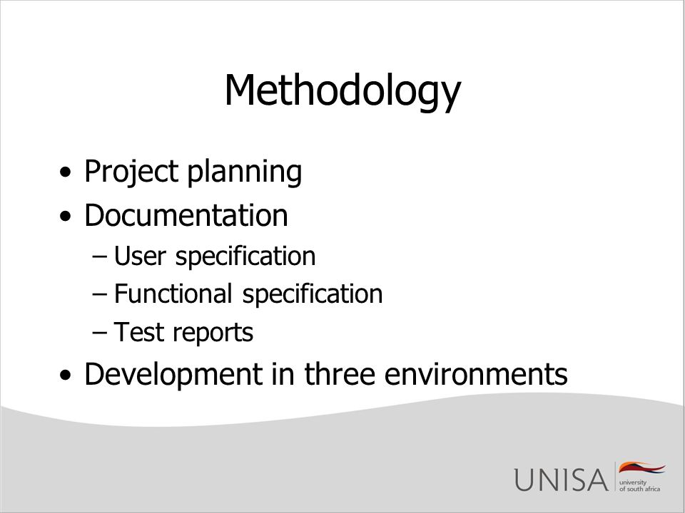 Methodology Project planning Documentation