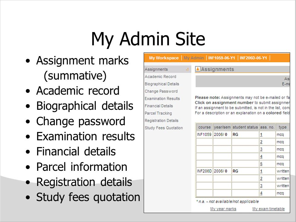 My Admin Site Assignment marks (summative) Academic record
