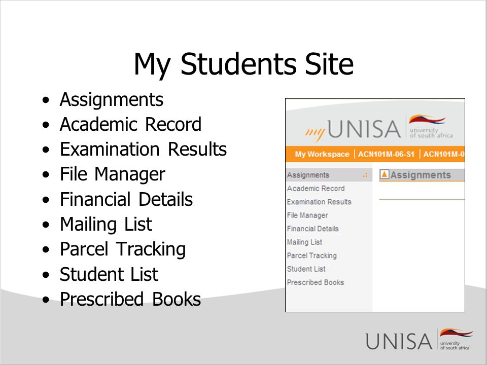 My Students Site Assignments Academic Record Examination Results