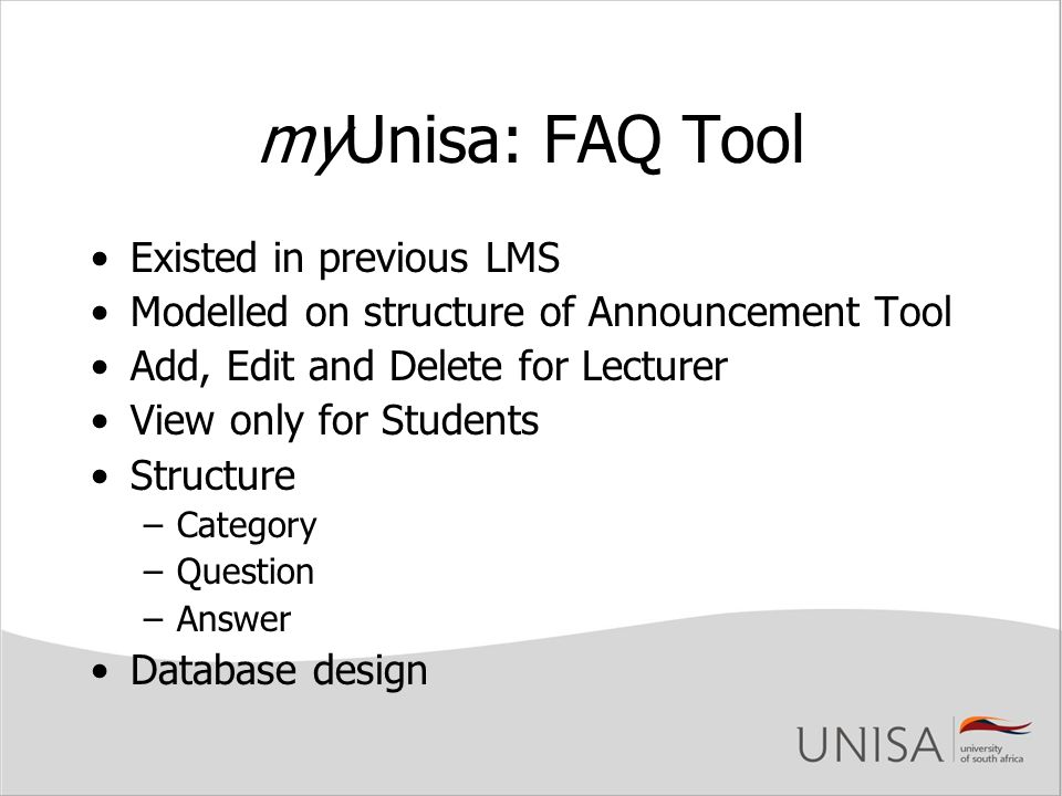 myUnisa: FAQ Tool Existed in previous LMS