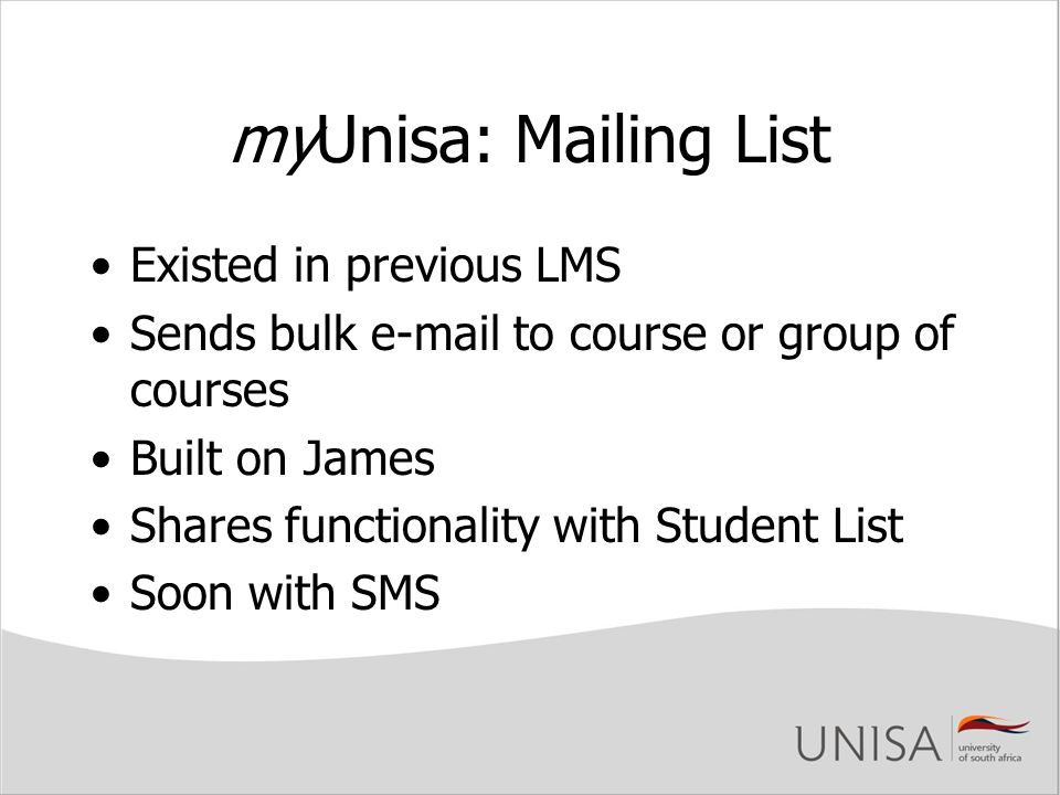 myUnisa: Mailing List Existed in previous LMS