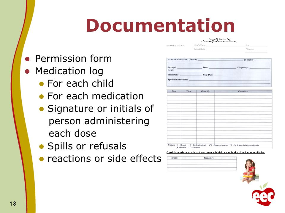 Documentation Permission form Medication log For each child