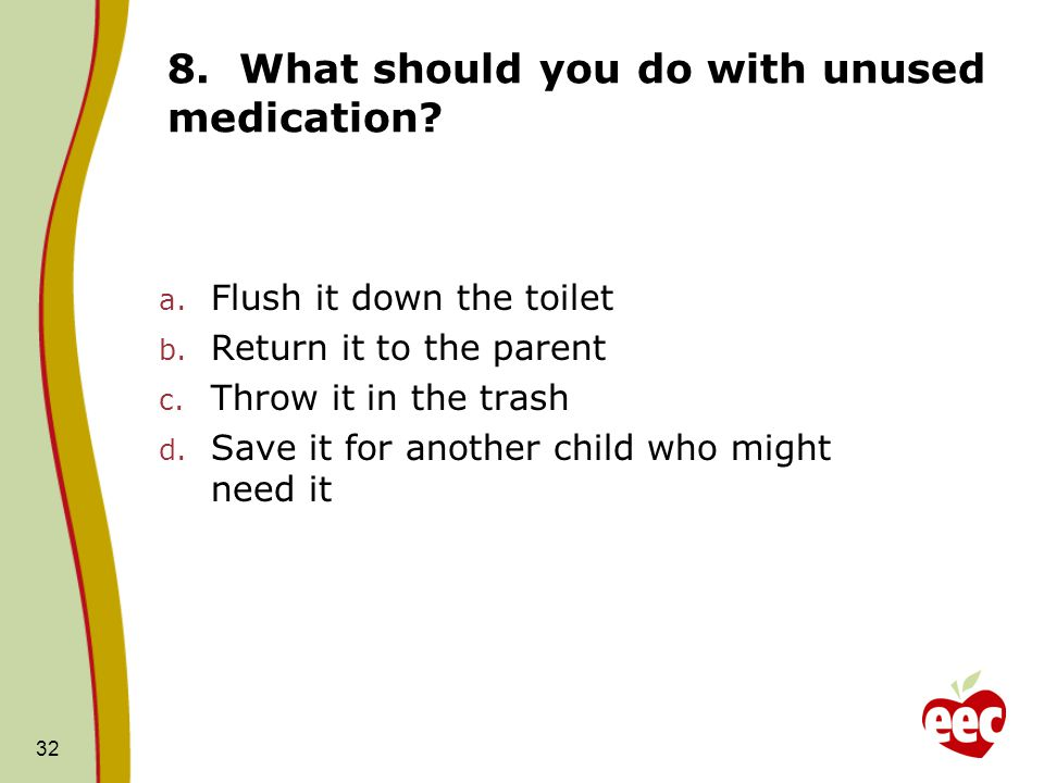 8. What should you do with unused medication