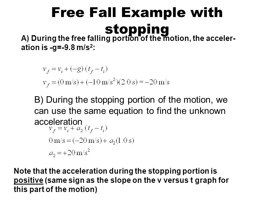 Free Fall Example with stopping
