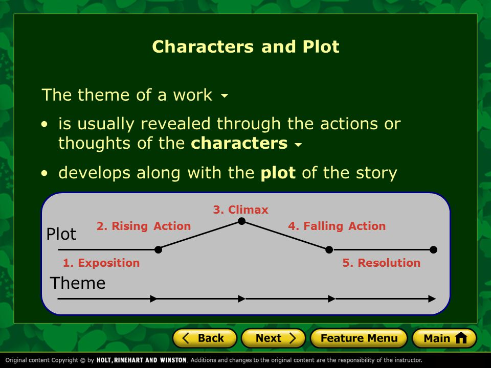Characters and Plot The theme of a work