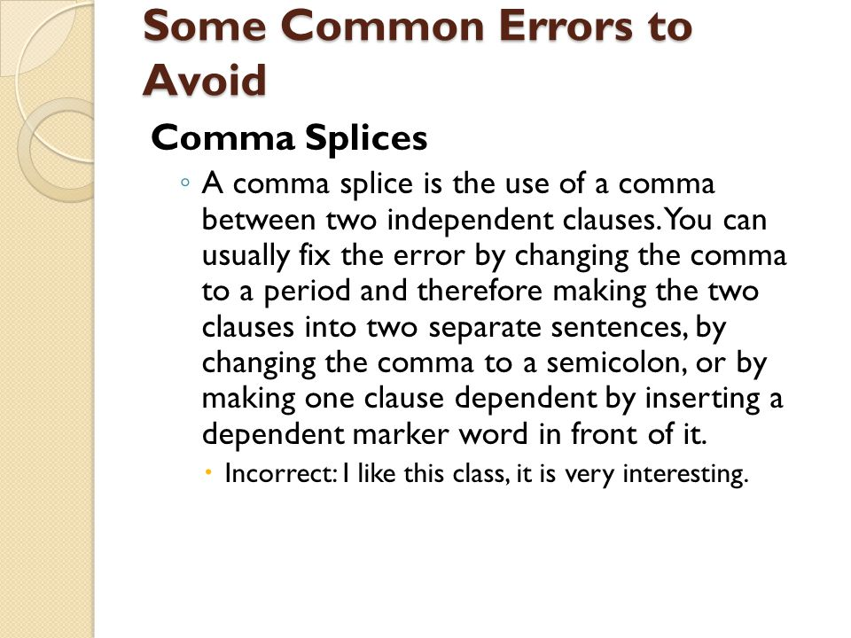 Some Common Errors to Avoid