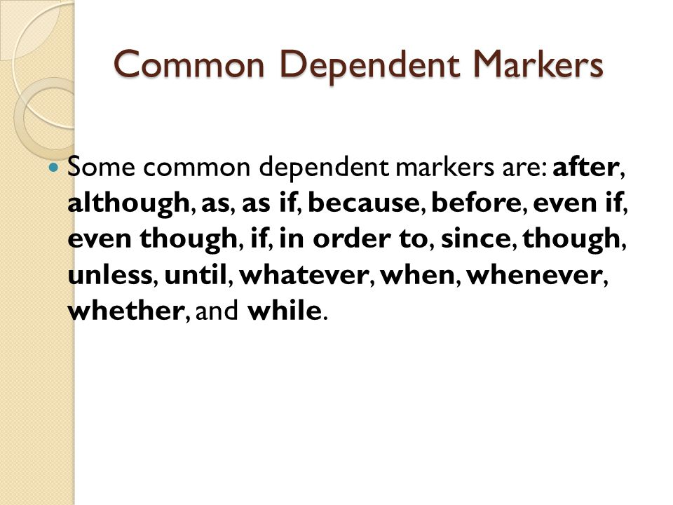 Common Dependent Markers