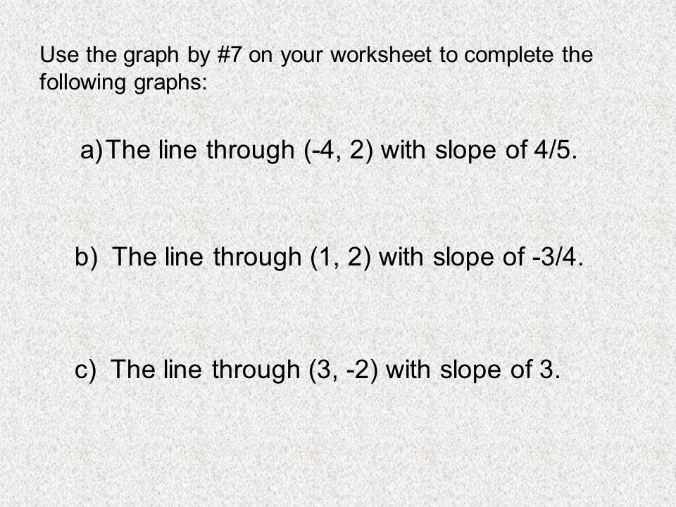 The line through (-4, 2) with slope of 4/5.