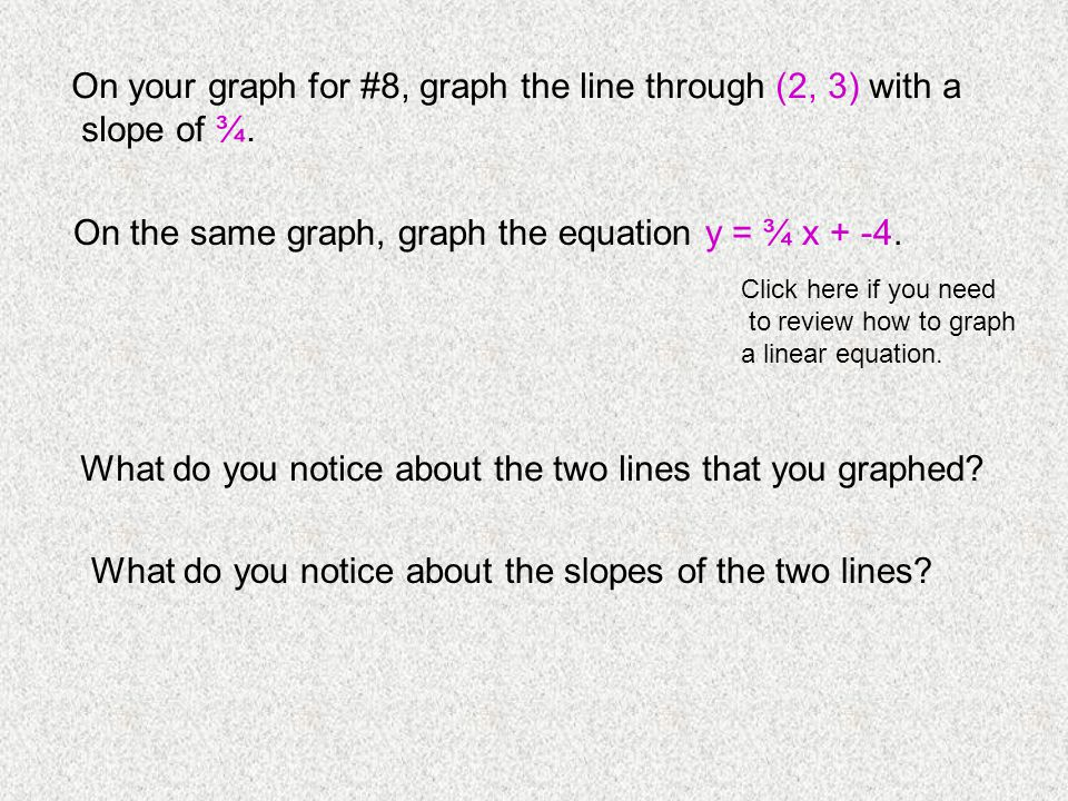On your graph for #8, graph the line through (2, 3) with a slope of ¾.