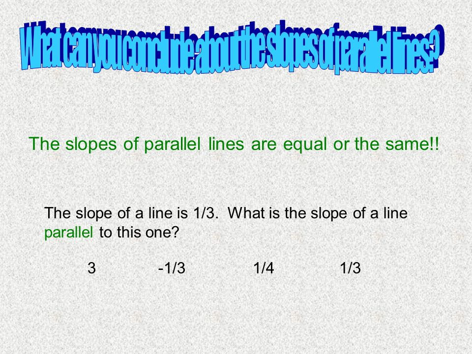 What can you conclude about the slopes of parallel lines