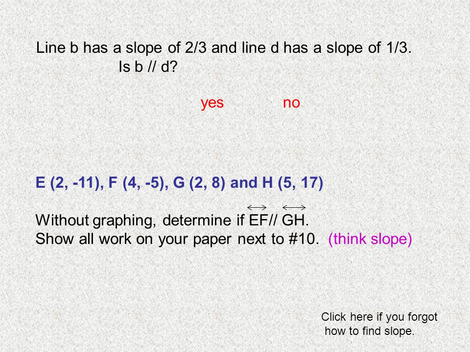 Line b has a slope of 2/3 and line d has a slope of 1/3. Is b // d