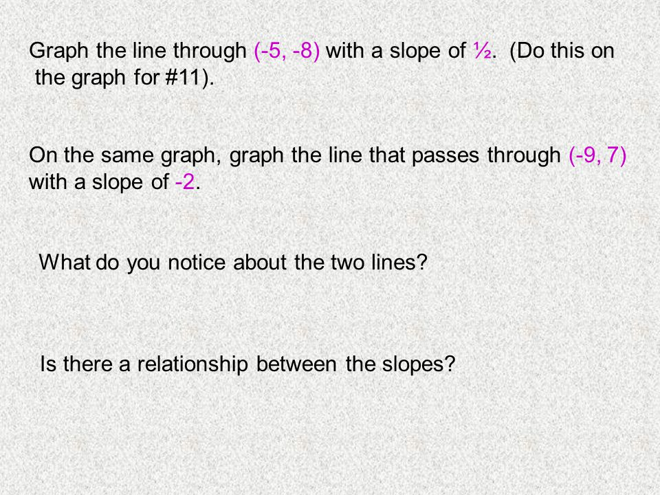 Graph the line through (-5, -8) with a slope of ½. (Do this on