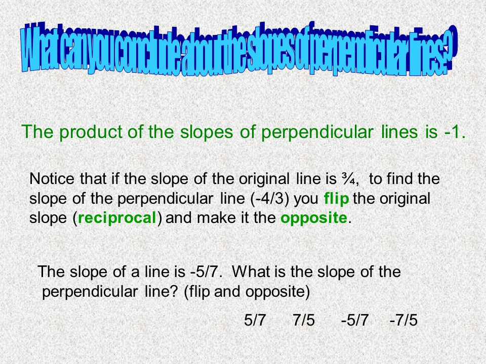 What can you conclude about the slopes of perpendicular lines