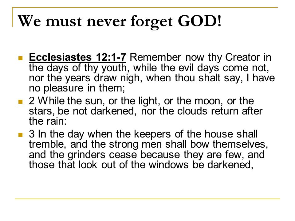 We must never forget GOD!