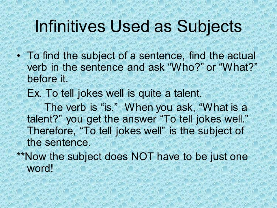 Infinitives Used as Subjects