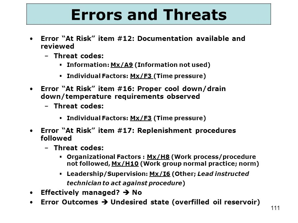 Errors and Threats Error At Risk item #12: Documentation available and reviewed. Threat codes: Information: Mx/A9 (Information not used)