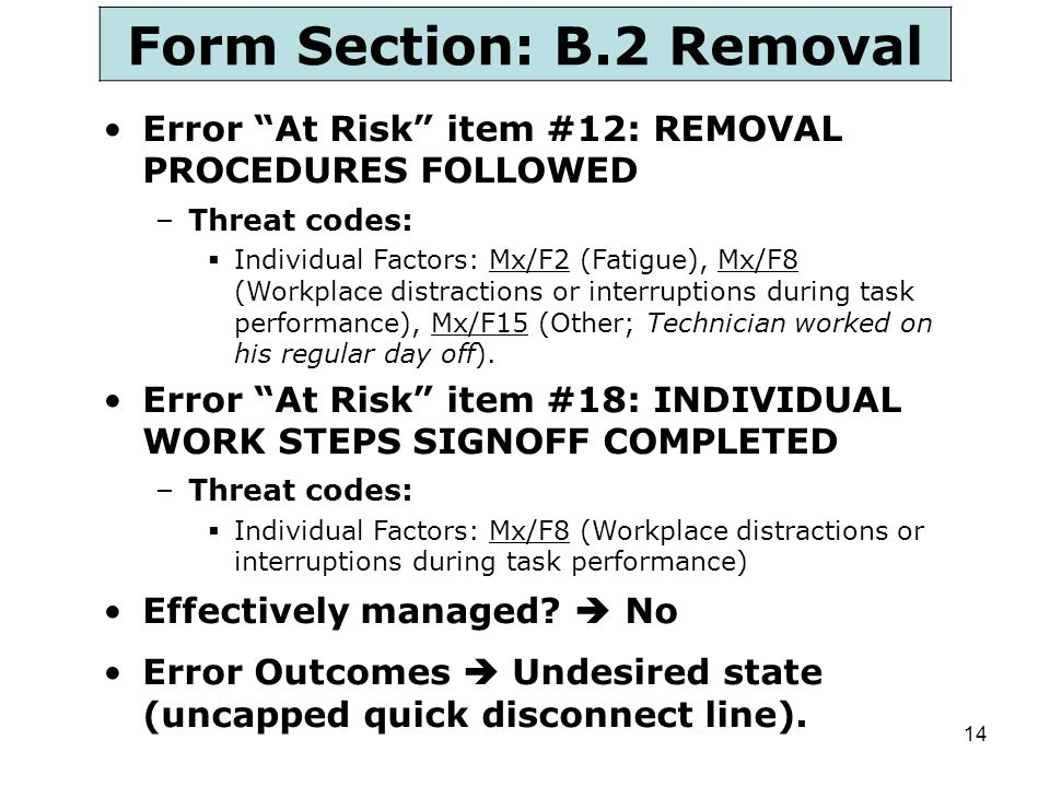 Form Section: B.2 Removal