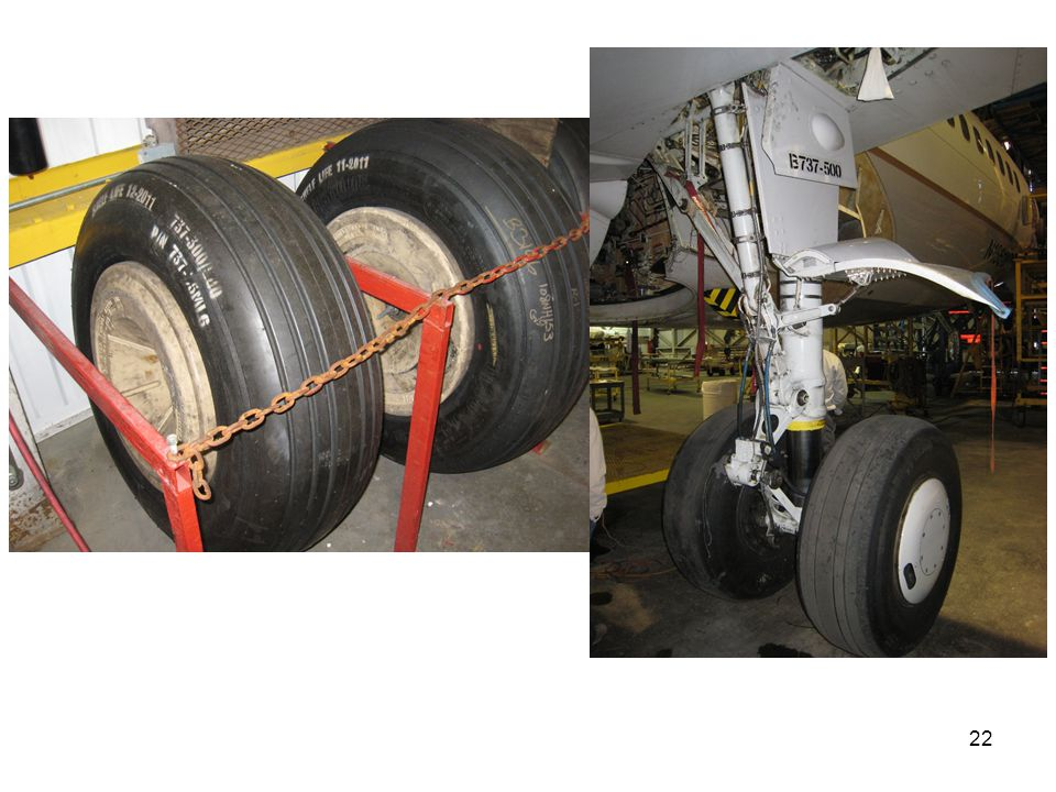 In these photographs, you can see the 737 tires with proper marking and the main landing gears.