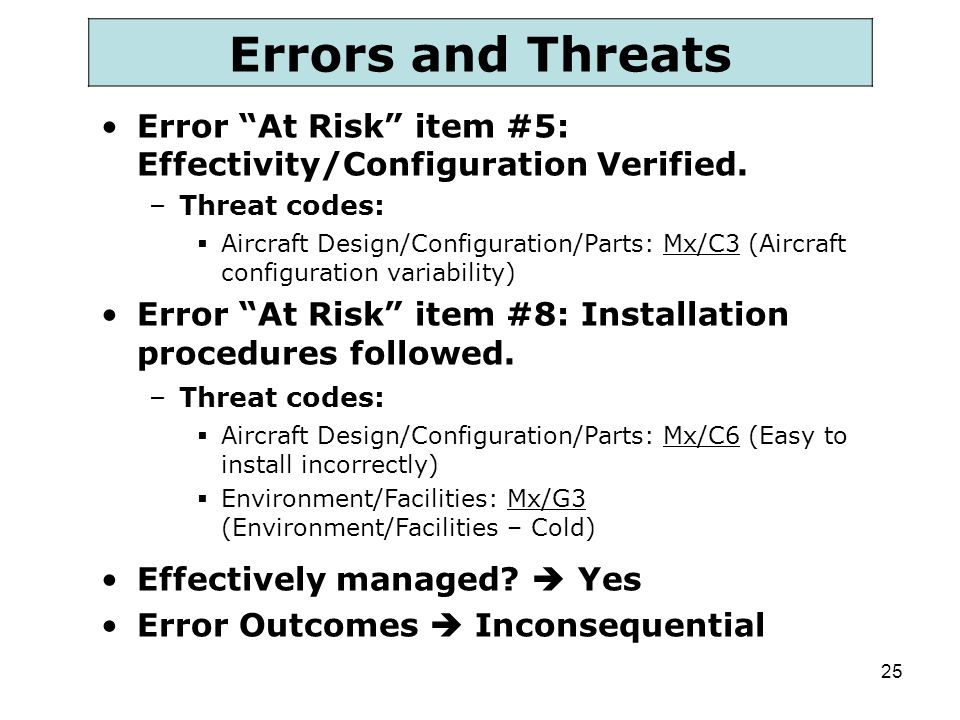Errors and Threats Error At Risk item #5: Effectivity/Configuration Verified. Threat codes: