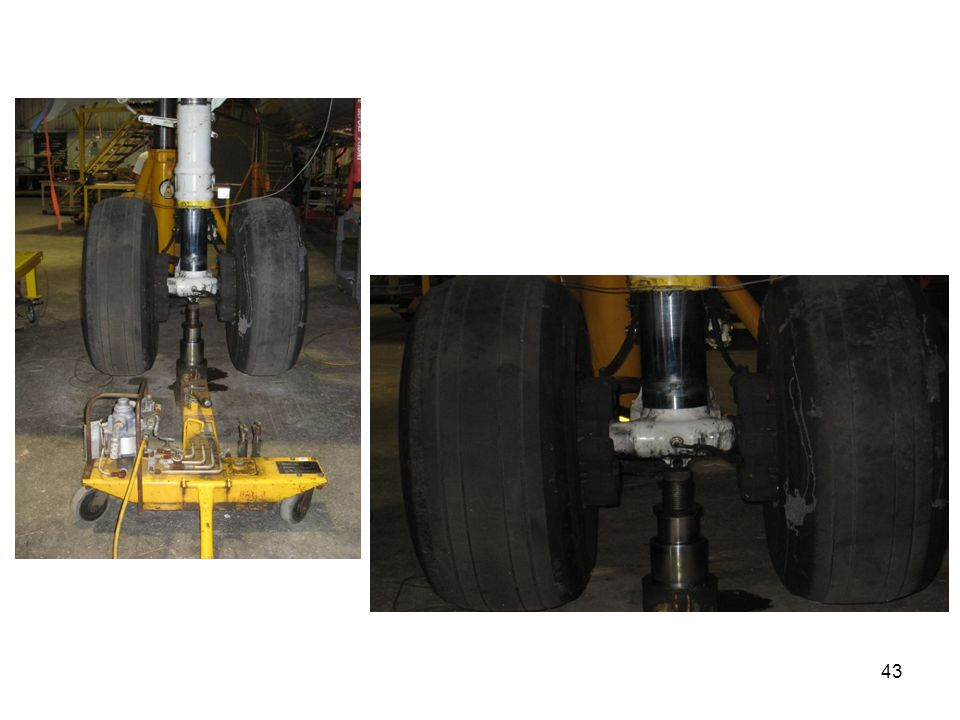 These photographs show the main gear jacking.