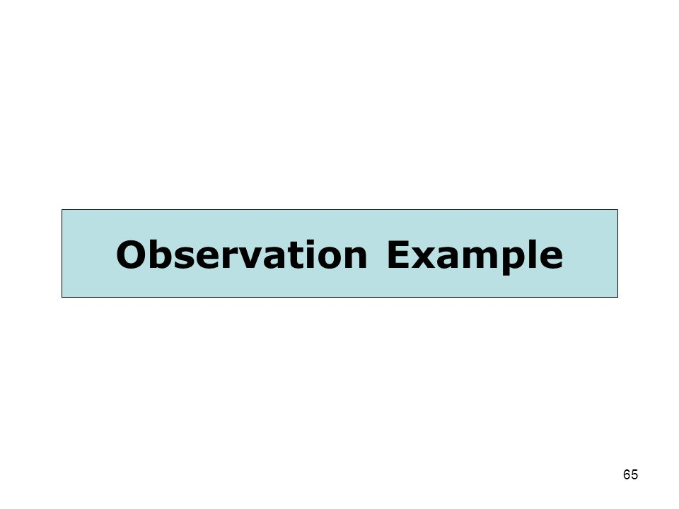 Observation Example First, let's review an observation sample together. 65