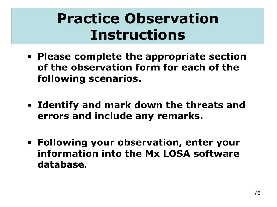 Practice Observation Instructions