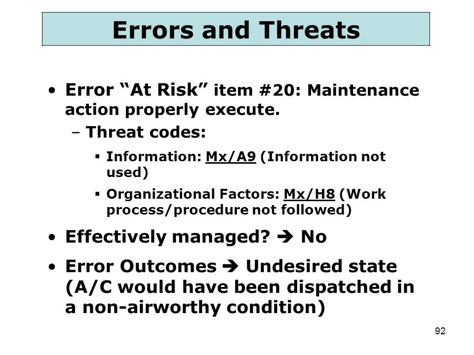 Errors and Threats Error At Risk item #20: Maintenance action properly execute. Threat codes: Information: Mx/A9 (Information not used)