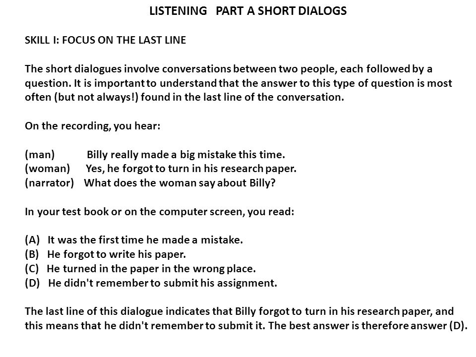 LISTENING PART A SHORT DIALOGS