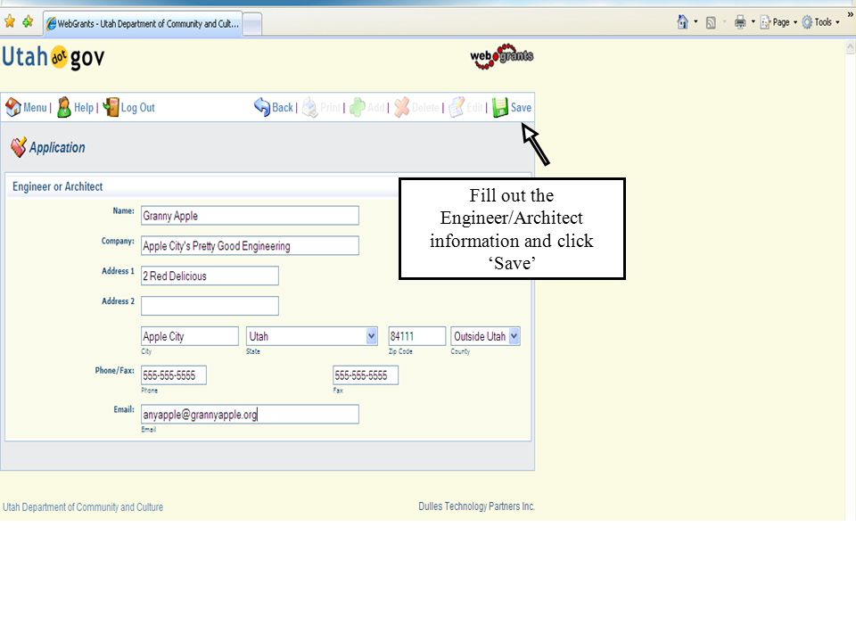 Fill out the Engineer/Architect information and click 'Save'