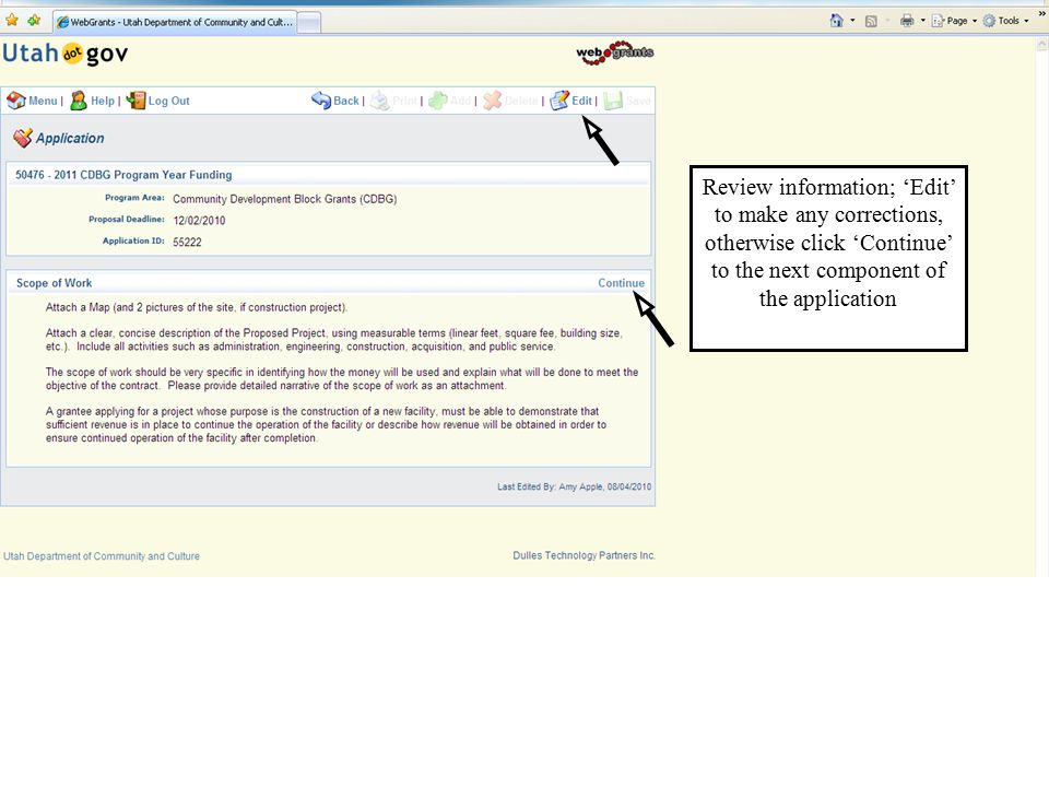 Review information; 'Edit' to make any corrections, otherwise click 'Continue' to the next component of the application