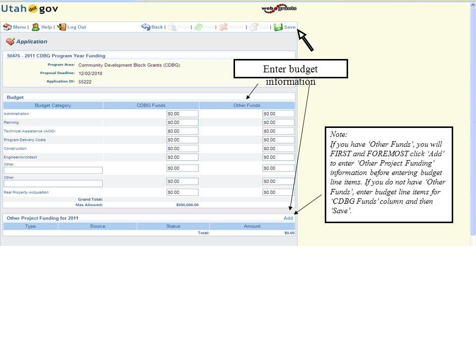 Enter budget information