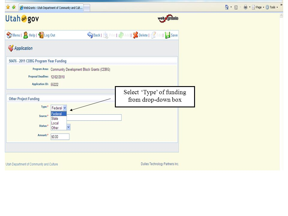 Select 'Type' of funding from drop-down box