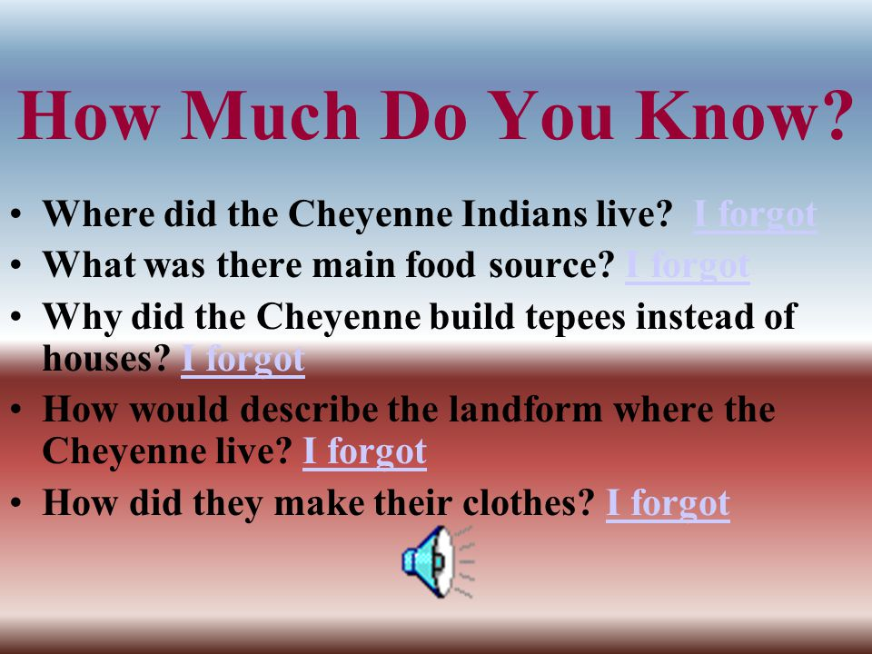 How Much Do You Know Where did the Cheyenne Indians live I forgot
