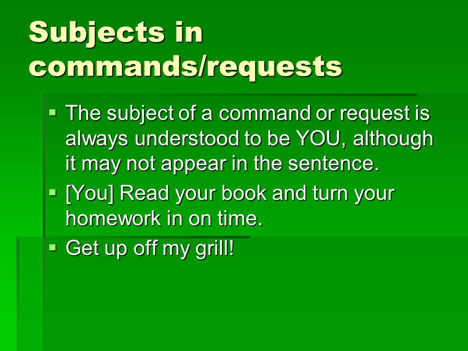 Subjects in commands/requests