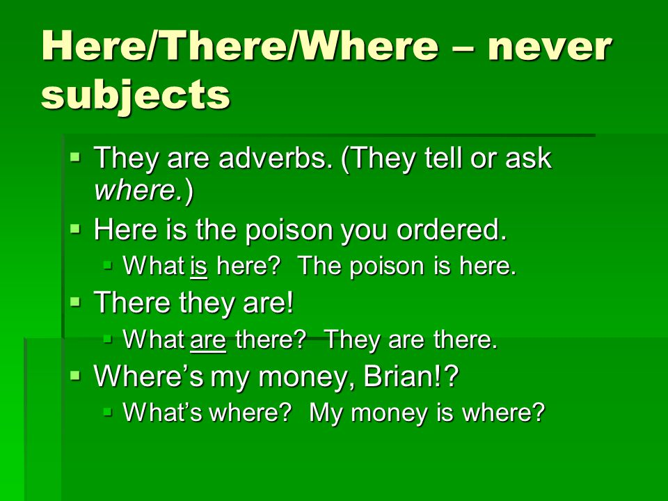 Here/There/Where – never subjects