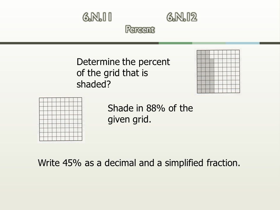 6.N.11 6.N.12 Percent Determine the percent of the grid that is shaded Shade in 88% of the given grid.