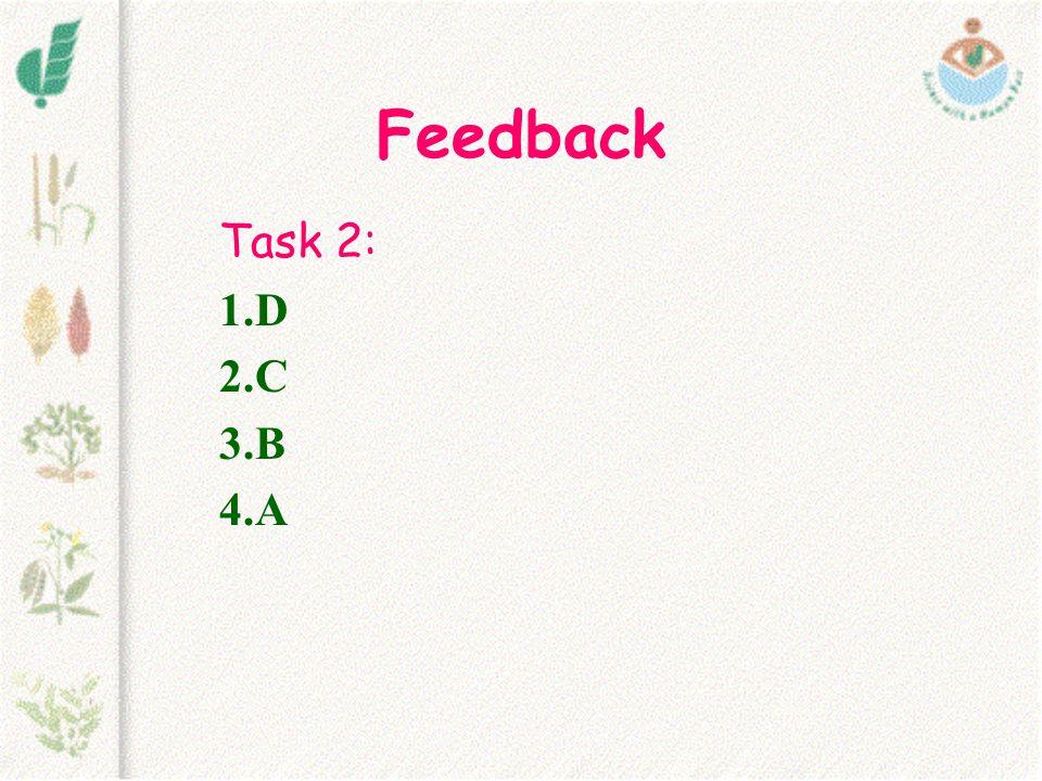 Feedback Task 2: 1.D 2.C 3.B 4.A