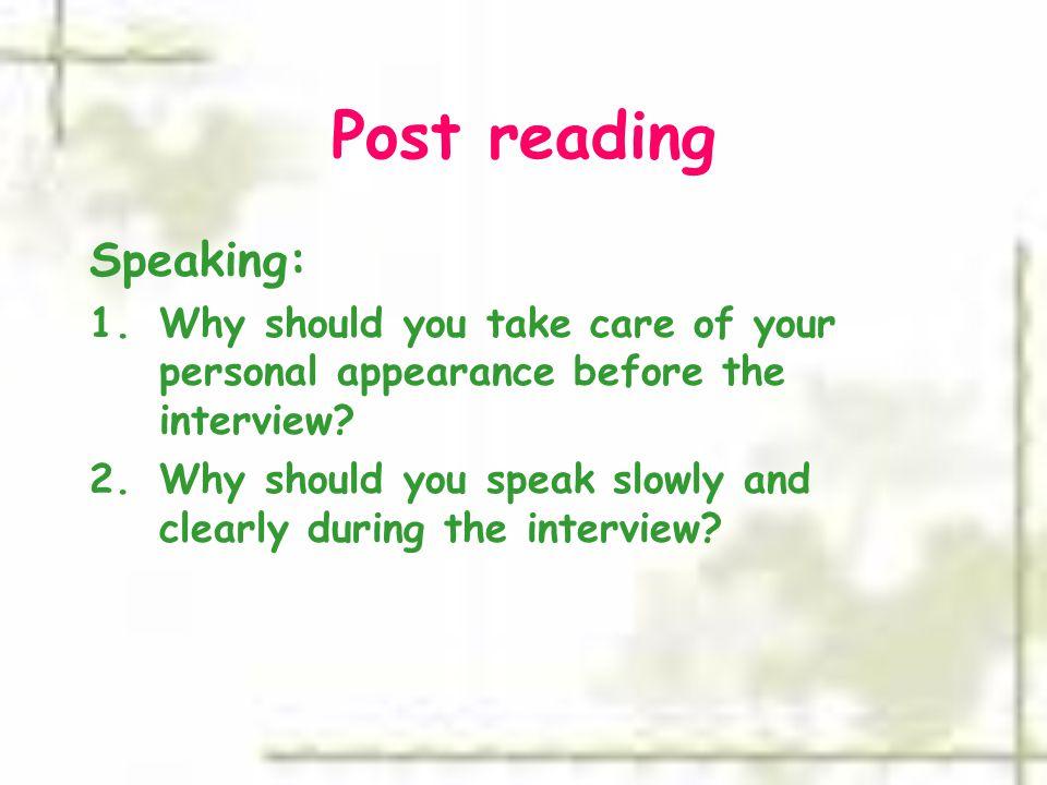 Post reading Speaking: