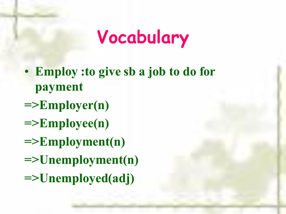 Vocabulary Employ :to give sb a job to do for payment =>Employer(n)