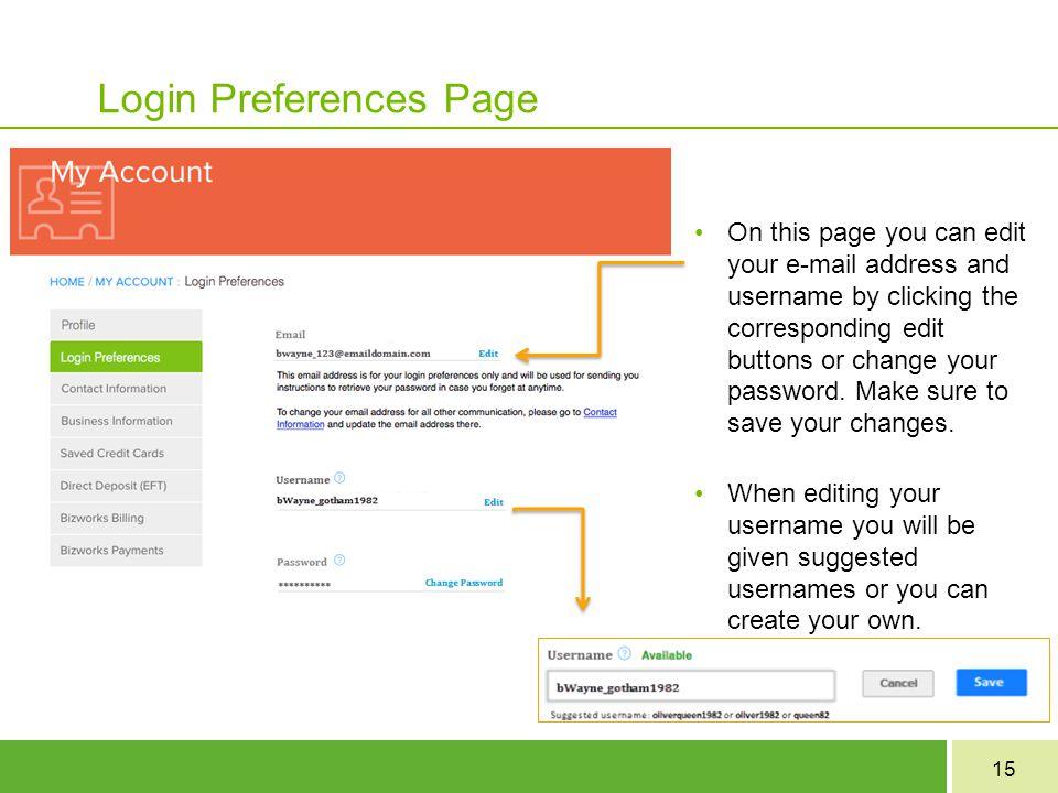 Login Preferences Page