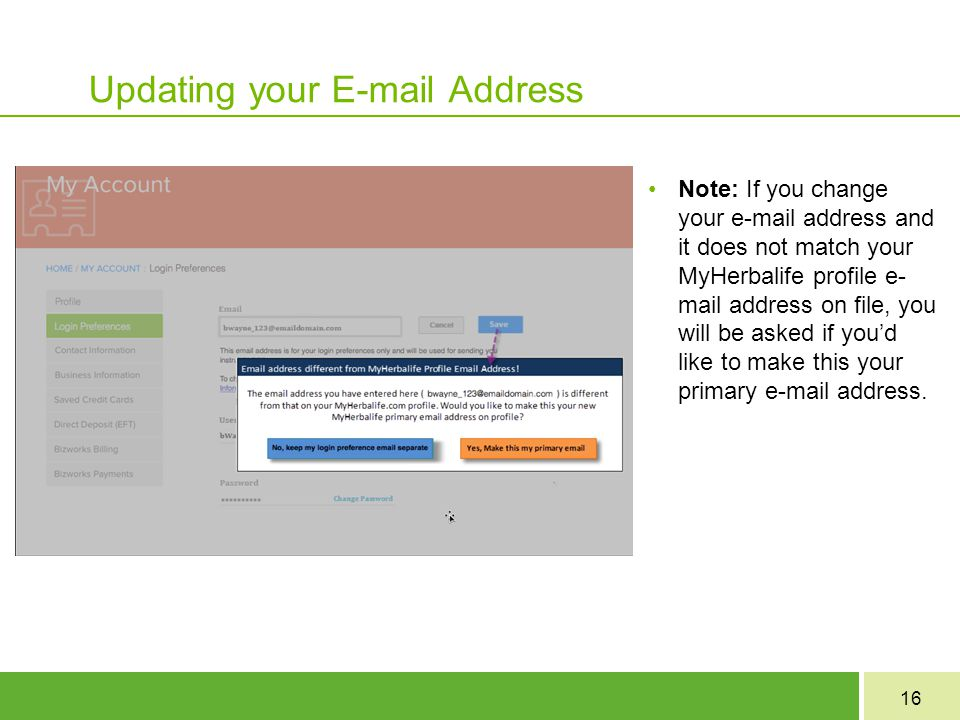 Updating your E-mail Address