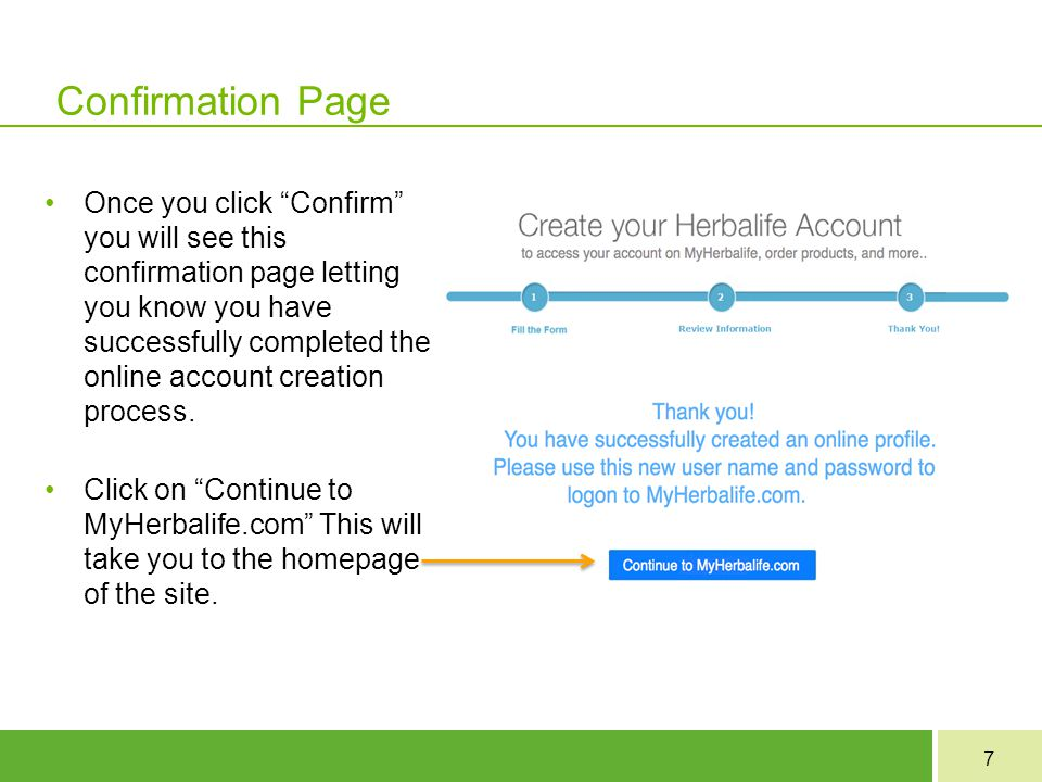 Confirmation Page
