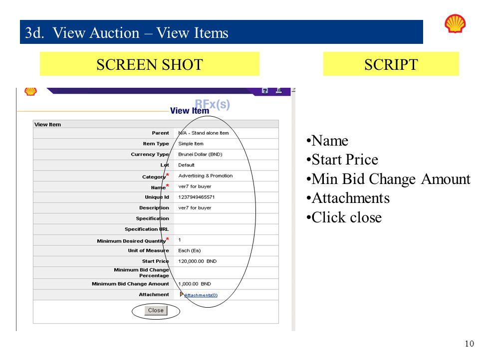 3d. View Auction – View Items