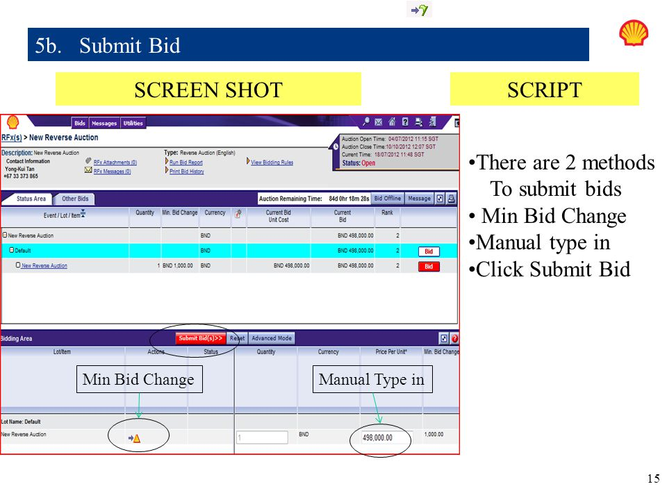 5b. Submit Bid SCREEN SHOT SCRIPT There are 2 methods To submit bids
